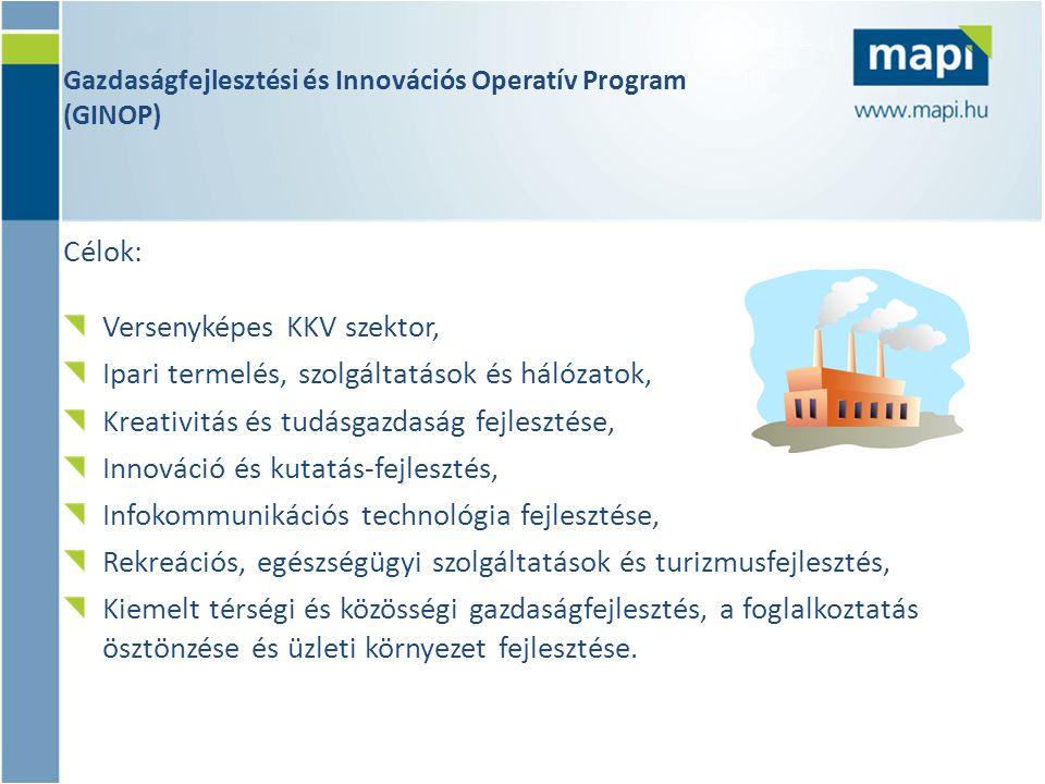 Gazdaságfejlesztési és Innovációs Operatív Program (GINOP) Célok: Versenyképes KKV szektor, Ipari termelés, szolgáltatások és hálózatok, Kreativitás és tudásgazdaság fejlesztése, Innováció és kutatás-fejlesztés, Infokommunikációs technológia fejlesztése, Rekreációs, egészségügyi szolgáltatások és turizmusfejlesztés, Kiemelt térségi és közösségi gazdaságfejlesztés, a foglalkoztatás ösztönzése és üzleti környezet fejlesztése.