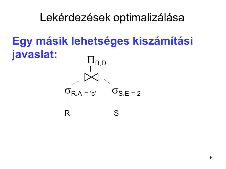 27 Algebrai optimalizáció Optimalizáljuk a következő kifejezést:  kc (  d>= 2007.01.01 (  kv.s,i,kc,kő.a,n,lc,d (  kv.s=ks.s  kő.a=ks.a (kv  (kő  ks)))))  d>= 2007.01.01  kc  kv.s,i,kc,kő.a,n,lc,d  kv.s=ks.s  kő.a=ks.a   kő(a,n,lc)ks(s,a,d) kv(s,i,kc)