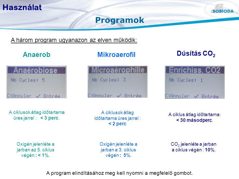 Programok Használat A három program ugyanazon az elven működik: Dúsítás CO 2 A ciklusok átlag időtartama üres jarral : < 3 perc. A ciklus átlag időtar