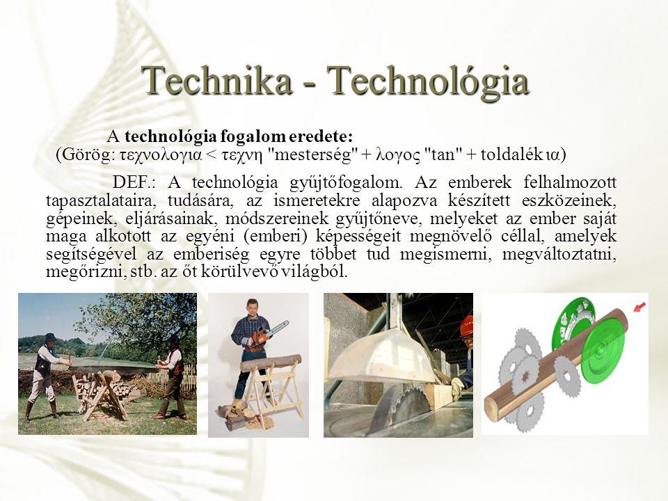 Technika - Technológia A technológia során felhasznált, alkalmazott eszközöket, amelyek az emberi élet különböző területein jelentkező problémáinak megoldását segítik, egyszerű szinten szerszámnak, fejlettebb szinten technikának nevezzük.