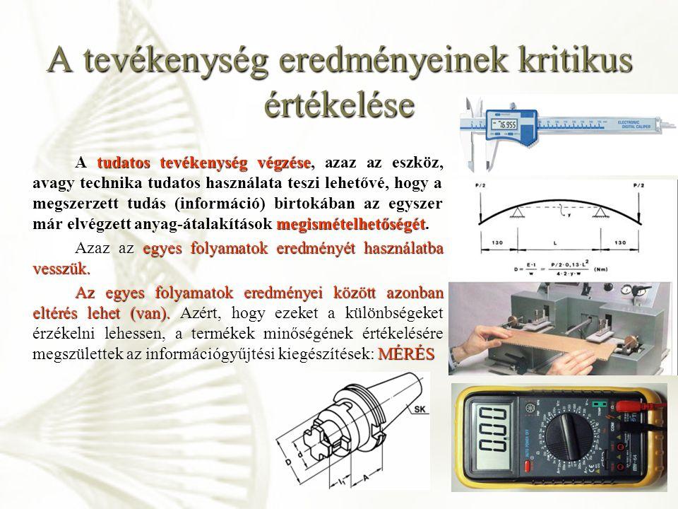 A tevékenység eredményeinek kritikus értékelése, mérés Mérésnek nevezzük valami méretének vagy nagyságának a megállapítását.