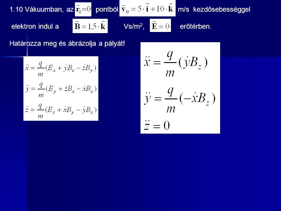 1.10 Vákuumban, az pontból m/s kezdősebességgel elektron indul a Vs/m 2, erőtérben. Határozza meg és ábrázolja a pályát!