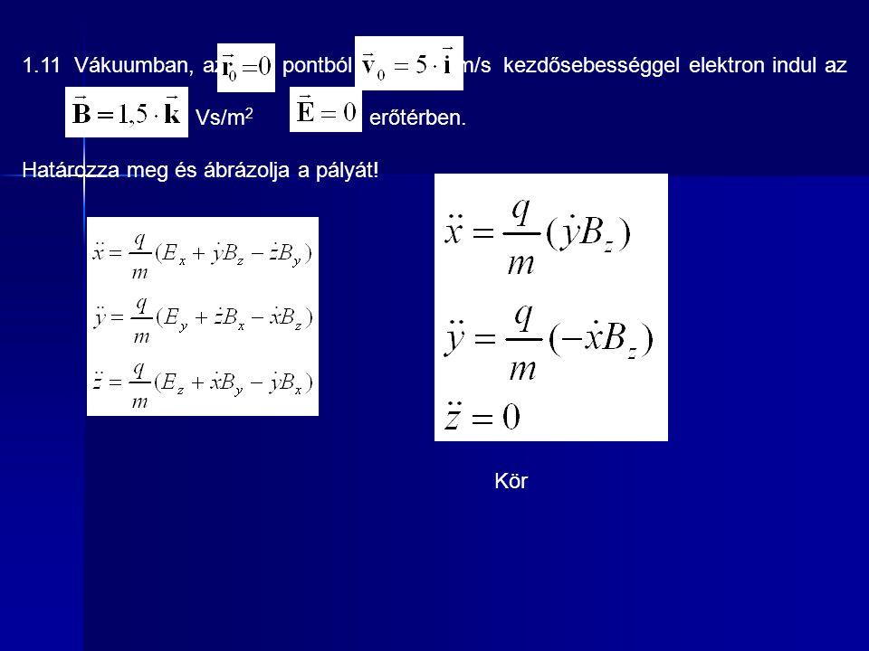 1.11 Vákuumban, az pontból m/s kezdősebességgel elektron indul az Vs/m 2 erőtérben. Határozza meg és ábrázolja a pályát! Kör