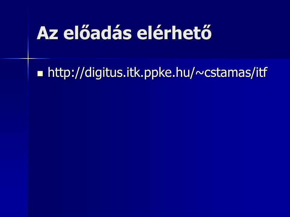 Az előadás elérhető http://digitus.itk.ppke.hu/~cstamas/itf http://digitus.itk.ppke.hu/~cstamas/itf
