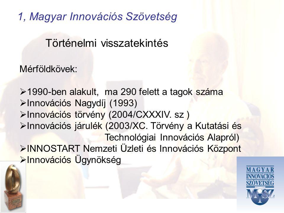 1, Magyar Innovációs Szövetség Történelmi visszatekintés Mérföldkövek:  1990-ben alakult, ma 290 felett a tagok száma  Innovációs Nagydíj (1993)  Innovációs törvény (2004/CXXXIV.
