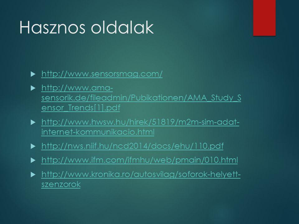 Hasznos oldalak  http://www.sensorsmag.com/ http://www.sensorsmag.com/  http://www.ama- sensorik.de/fileadmin/Pubikationen/AMA_Study_S ensor_Trends[1].pdf http://www.ama- sensorik.de/fileadmin/Pubikationen/AMA_Study_S ensor_Trends[1].pdf  http://www.hwsw.hu/hirek/51819/m2m-sim-adat- internet-kommunikacio.html http://www.hwsw.hu/hirek/51819/m2m-sim-adat- internet-kommunikacio.html  http://nws.niif.hu/ncd2014/docs/ehu/110.pdf http://nws.niif.hu/ncd2014/docs/ehu/110.pdf  http://www.ifm.com/ifmhu/web/pmain/010.html http://www.ifm.com/ifmhu/web/pmain/010.html  http://www.kronika.ro/autosvilag/soforok-helyett- szenzorok http://www.kronika.ro/autosvilag/soforok-helyett- szenzorok