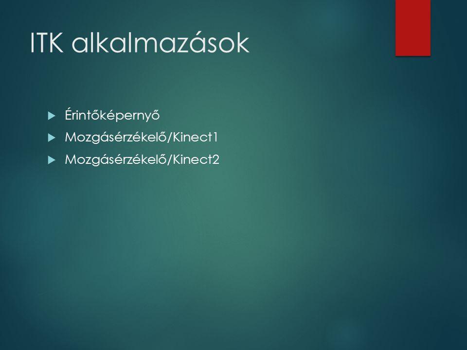 ITK alkalmazások  Érintőképernyő  Mozgásérzékelő/Kinect1  Mozgásérzékelő/Kinect2