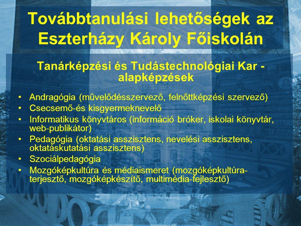 Továbbtanulási lehetőségek az Eszterházy Károly Főiskolán Tanárképzési és Tudástechnológiai Kar - alapképzések Andragógia (művelődésszervező, felnőttképzési szervező) Csecsemő-és kisgyermeknevelő Informatikus könyvtáros (információ bróker, iskolai könyvtár, web-publikátor) Pedagógia (oktatási asszisztens, nevelési asszisztens, oktatáskutatási asszisztens) Szociálpedagógia Mozgóképkultúra és médiaismeret (mozgóképkultúra- terjesztő, mozgóképkészítő, multimédia-fejlesztő)