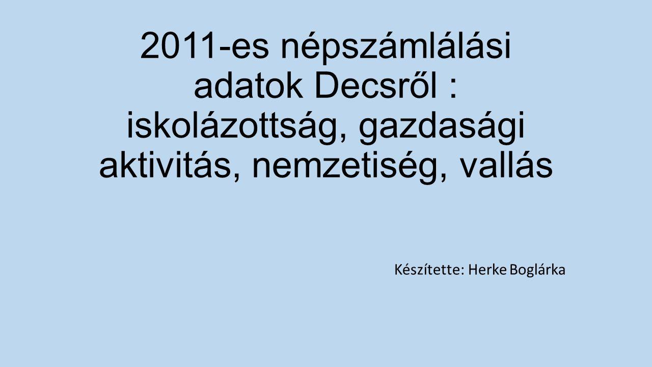 2011-es népszámlálási adatok Decsről : iskolázottság, gazdasági aktivitás, nemzetiség, vallás Készítette: Herke Boglárka
