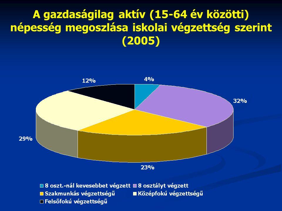 A gazdaságilag aktív (15-64 év közötti) népesség megoszlása iskolai végzettség szerint (2005)