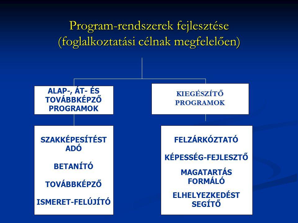 Program-rendszerek fejlesztése (foglalkoztatási célnak megfelelően) KIEGÉSZÍTŐPROGRAMOK FELZÁRKÓZTATÓ KÉPESSÉG-FEJLESZTŐ MAGATARTÁS FORMÁLÓ ELHELYEZKE