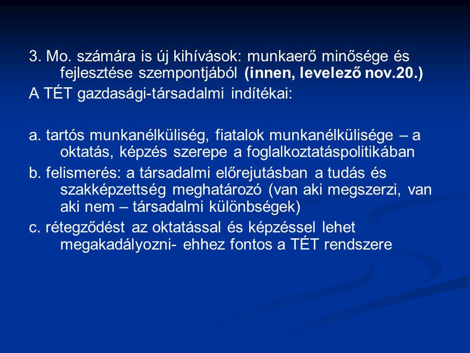 3. Mo. számára is új kihívások: munkaerő minősége és fejlesztése szempontjából (innen, levelező nov.20.) A TÉT gazdasági-társadalmi indítékai: a. tart