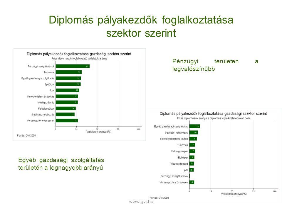 Diplomás pályakezdők foglalkoztatása szektor szerint Pénzügyi területen a legvalószínűbb Egyéb gazdasági szolgáltatás területén a legnagyobb arányú www.gvi.hu