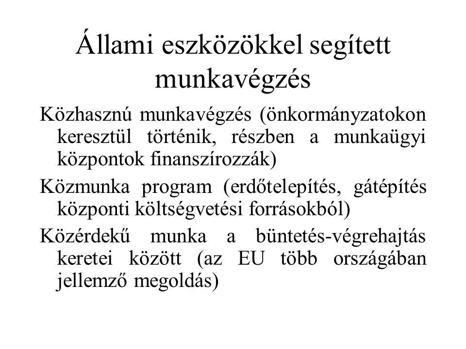 Állami eszközökkel segített munkavégzés Közhasznú munkavégzés (önkormányzatokon keresztül történik, részben a munkaügyi központok finanszírozzák) Közmunka program (erdőtelepítés, gátépítés központi költségvetési forrásokból) Közérdekű munka a büntetés-végrehajtás keretei között (az EU több országában jellemző megoldás)