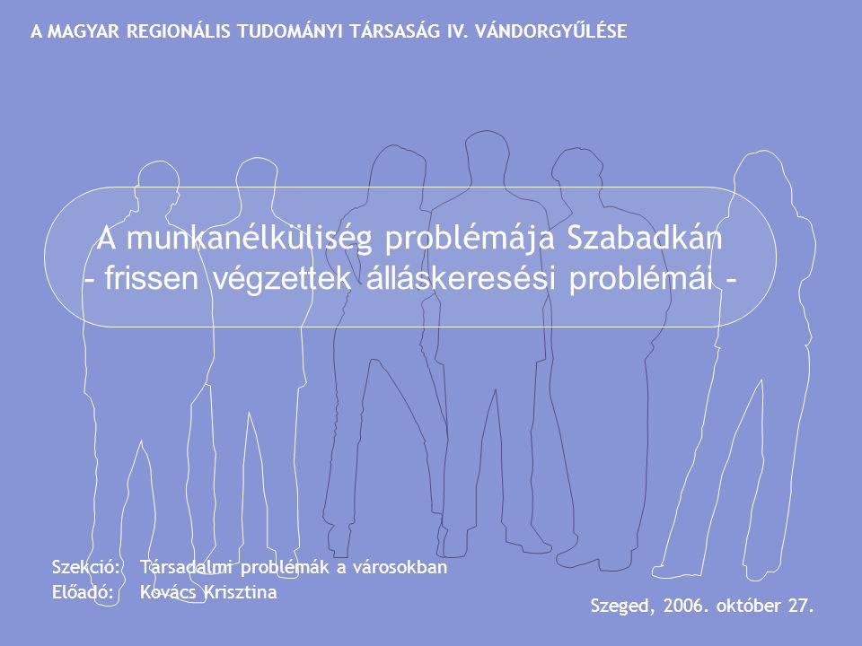 A munkanélküliség problémája Szabadkán - frissen végzettek álláskeresési problémái - Szekció: Társadalmi problémák a városokban Előadó: Kovács Kriszti
