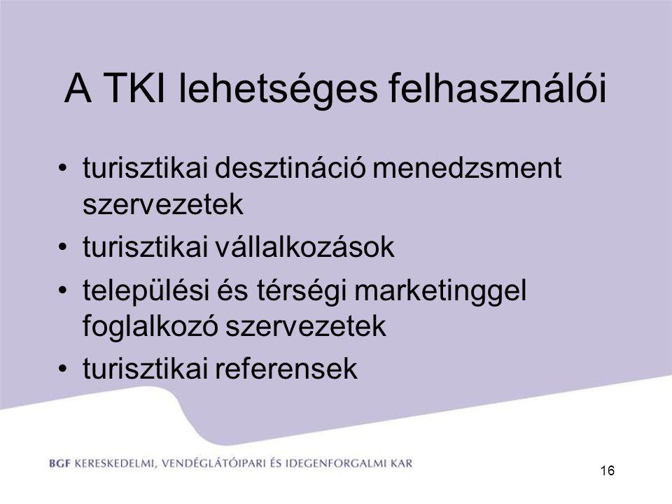 A TKI lehetséges felhasználói turisztikai desztináció menedzsment szervezetek turisztikai vállalkozások települési és térségi marketinggel foglalkozó szervezetek turisztikai referensek 16
