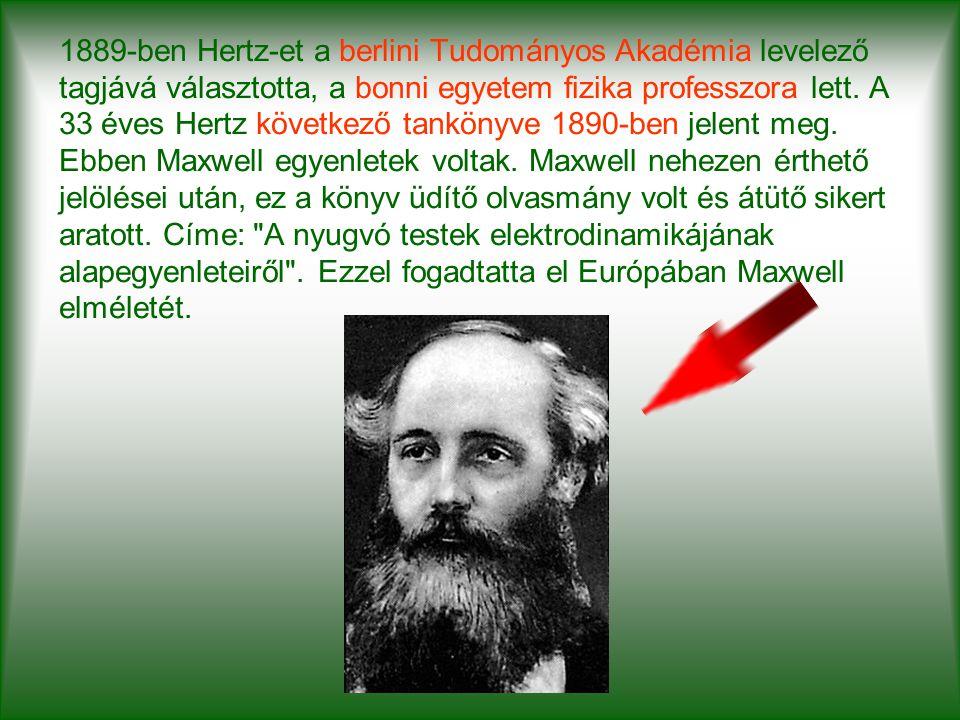 1889-ben Hertz-et a berlini Tudományos Akadémia levelező tagjává választotta, a bonni egyetem fizika professzora lett. A 33 éves Hertz következő tankö