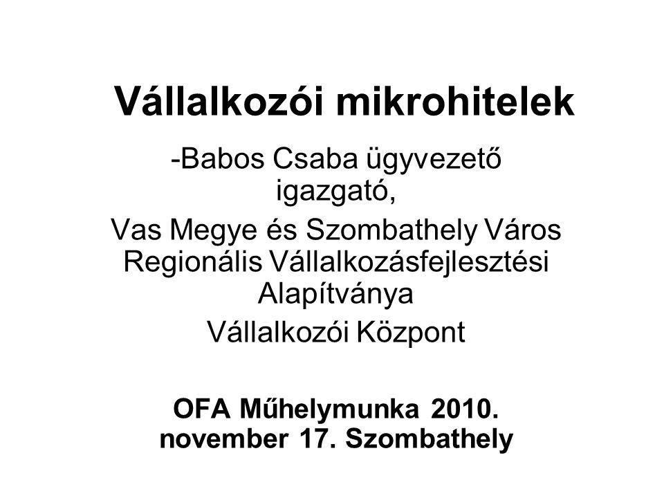 Vállalkozói mikrohitelek -Babos Csaba ügyvezető igazgató, Vas Megye és Szombathely Város Regionális Vállalkozásfejlesztési Alapítványa Vállalkozói Köz