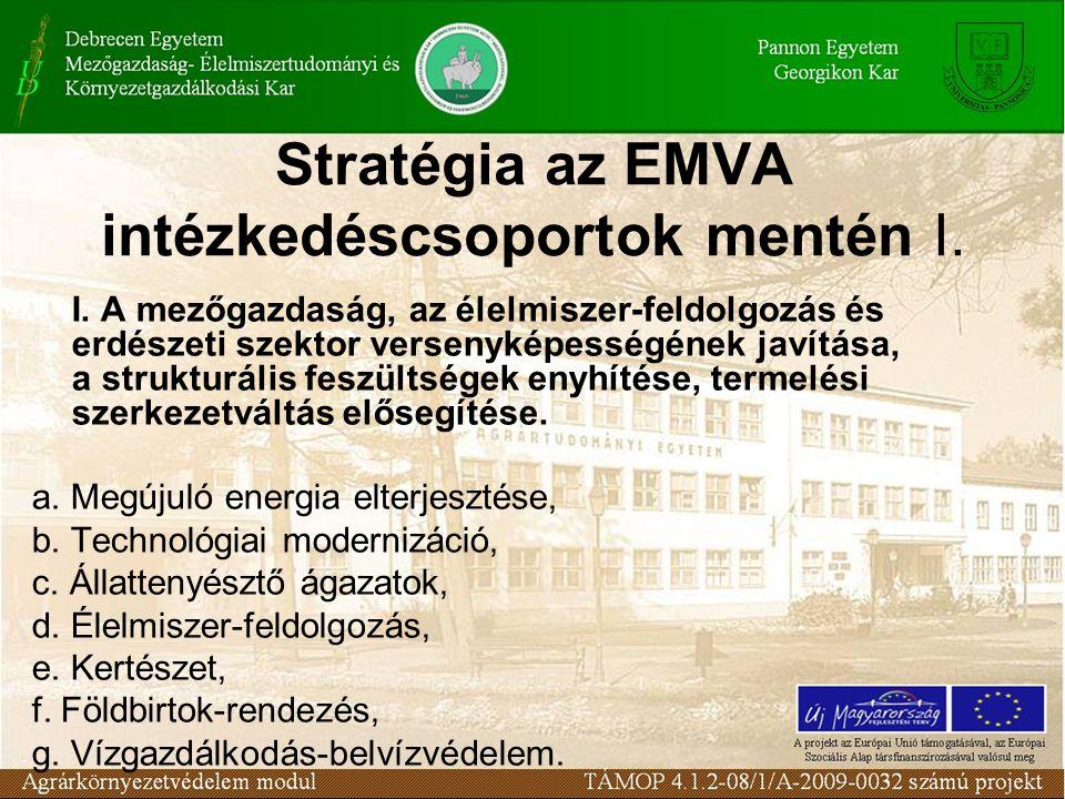 Stratégia az EMVA intézkedéscsoportok mentén I. I. A mezőgazdaság, az élelmiszer-feldolgozás és erdészeti szektor versenyképességének javítása, a stru