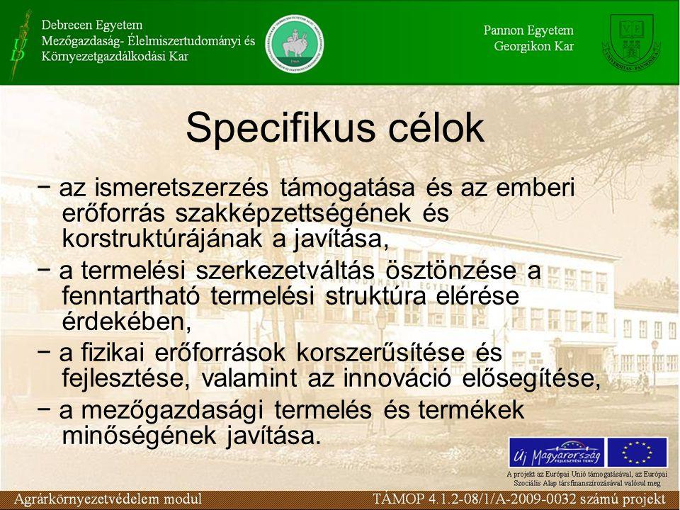 Specifikus célok − az ismeretszerzés támogatása és az emberi erőforrás szakképzettségének és korstruktúrájának a javítása, − a termelési szerkezetvált