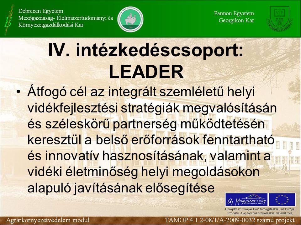 IV. intézkedéscsoport: LEADER Átfogó cél az integrált szemléletű helyi vidékfejlesztési stratégiák megvalósításán és széleskörű partnerség működtetésé