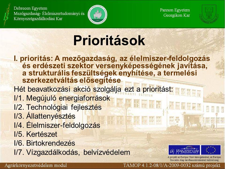 Prioritások I. prioritás: A mezőgazdaság, az élelmiszer-feldolgozás és erdészeti szektor versenyképességének javítása, a strukturális feszültségek eny