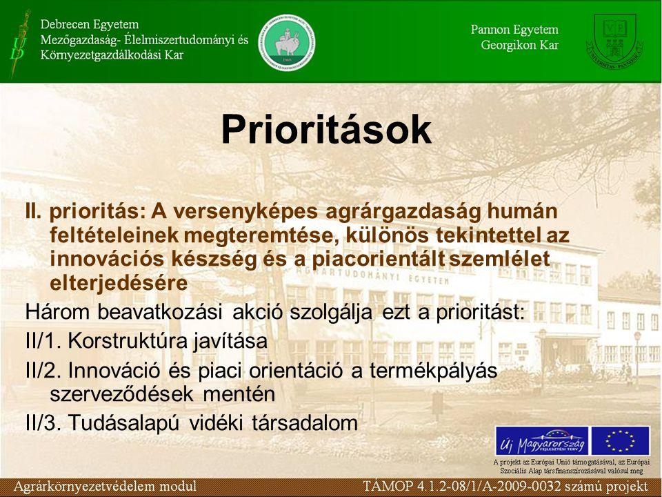 Prioritások II. prioritás: A versenyképes agrárgazdaság humán feltételeinek megteremtése, különös tekintettel az innovációs készség és a piacorientált