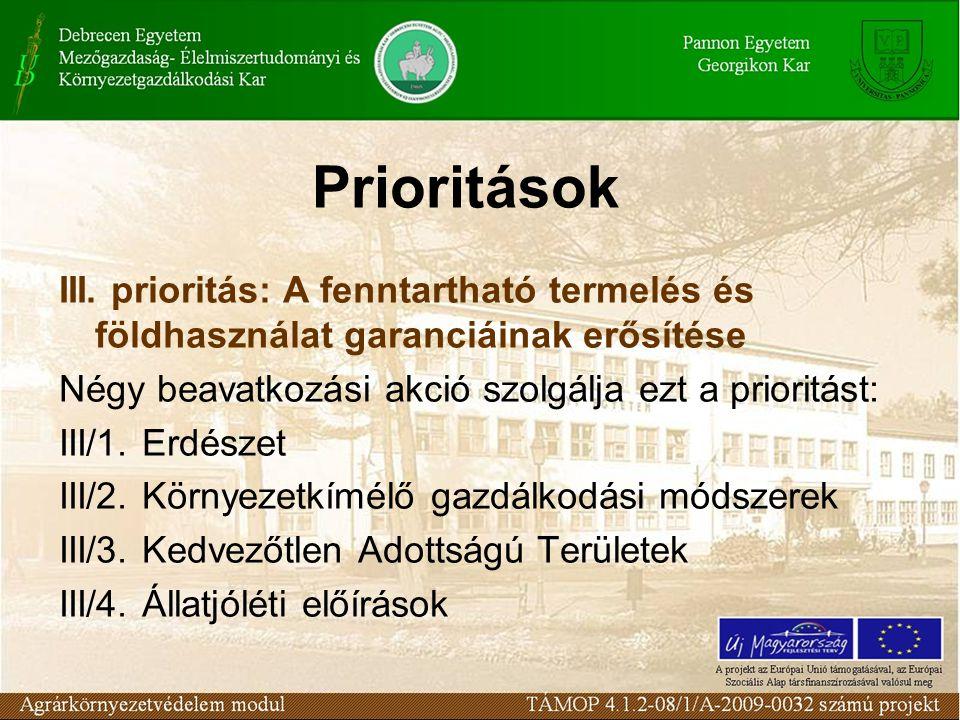 Prioritások III. prioritás: A fenntartható termelés és földhasználat garanciáinak erősítése Négy beavatkozási akció szolgálja ezt a prioritást: III/1.