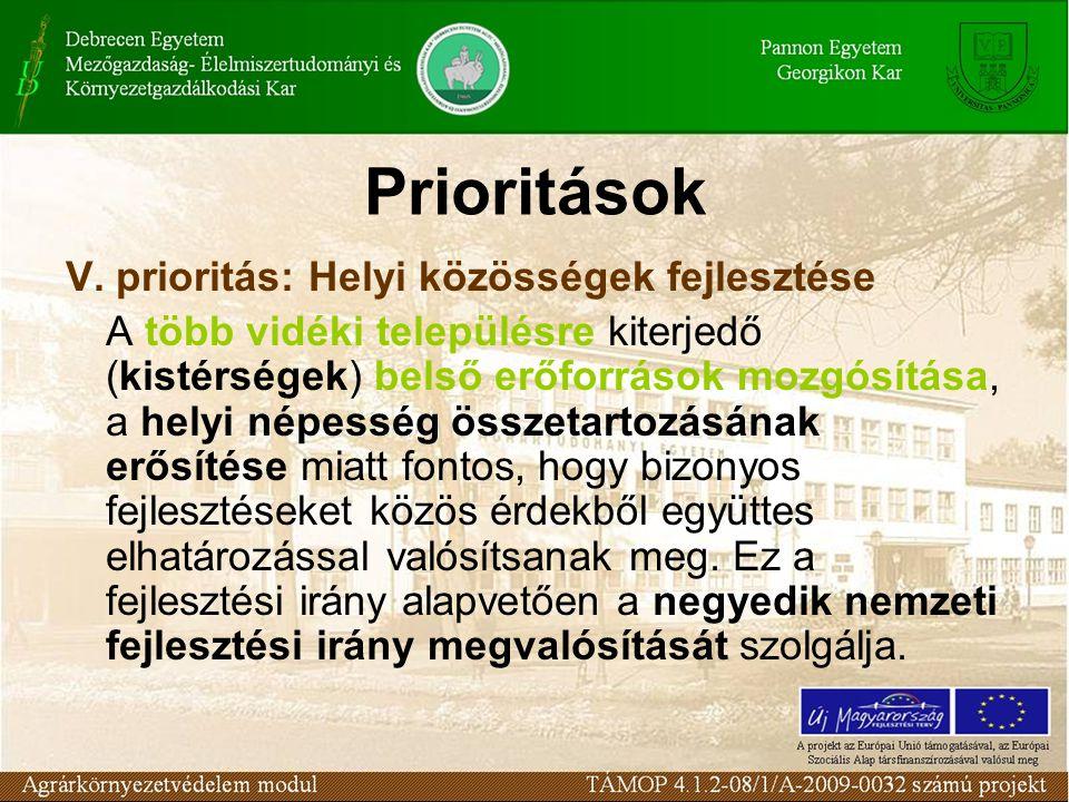 Prioritások V. prioritás: Helyi közösségek fejlesztése A több vidéki településre kiterjedő (kistérségek) belső erőforrások mozgósítása, a helyi népess