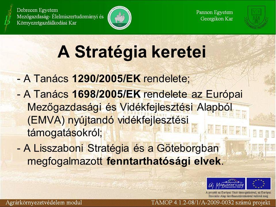 A Stratégia keretei - A Tanács 1290/2005/EK rendelete; - A Tanács 1698/2005/EK rendelete az Európai Mezőgazdasági és Vidékfejlesztési Alapból (EMVA) n