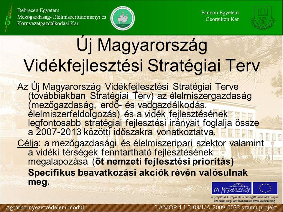 Új Magyarország Vidékfejlesztési Stratégiai Terv Az Új Magyarország Vidékfejlesztési Stratégiai Terve (továbbiakban Stratégiai Terv) az élelmiszergazdaság (mezőgazdaság, erdő- és vadgazdálkodás, élelmiszerfeldolgozás) és a vidék fejlesztésének legfontosabb stratégiai fejlesztési irányait foglalja össze a 2007-2013 közötti időszakra vonatkoztatva.
