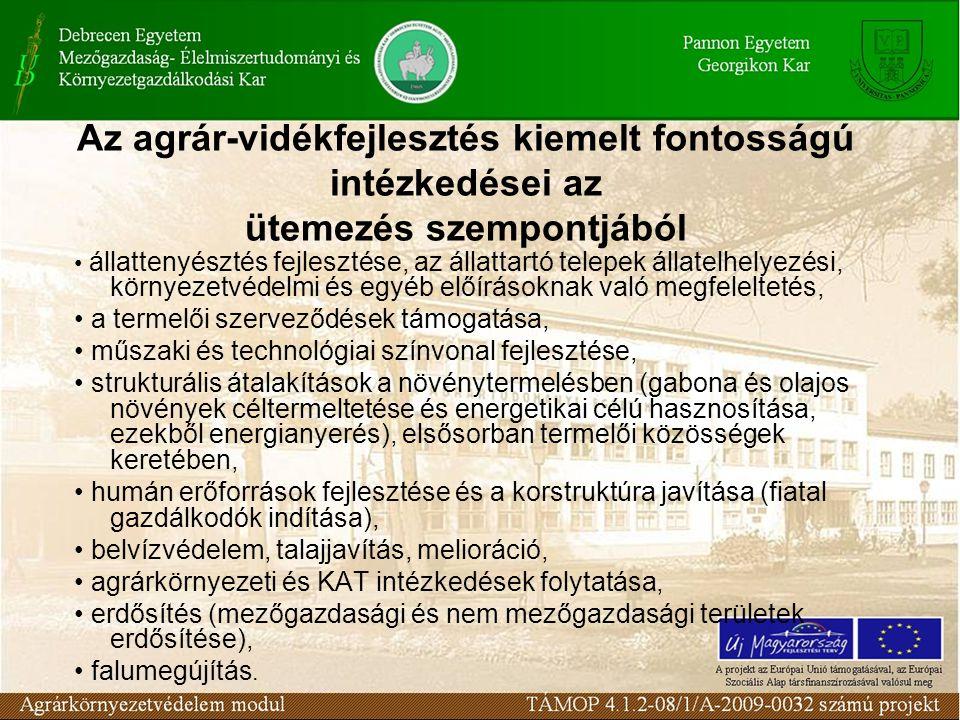 Az agrár-vidékfejlesztés kiemelt fontosságú intézkedései az ütemezés szempontjából állattenyésztés fejlesztése, az állattartó telepek állatelhelyezési