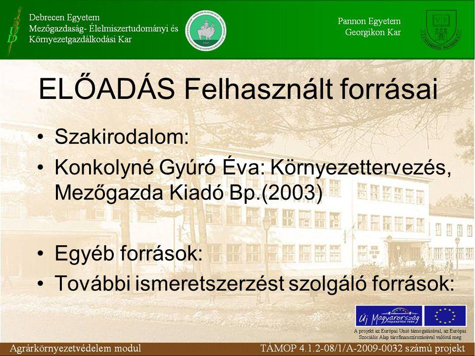 ELŐADÁS Felhasznált forrásai Szakirodalom: Konkolyné Gyúró Éva: Környezettervezés, Mezőgazda Kiadó Bp.(2003) Egyéb források: További ismeretszerzést s