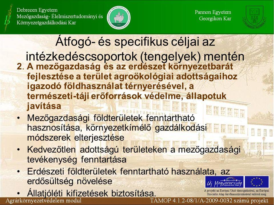 Átfogó- és specifikus céljai az intézkedéscsoportok (tengelyek) mentén 2. A mezőgazdaság és az erdészet környezetbarát fejlesztése a terület agroökoló