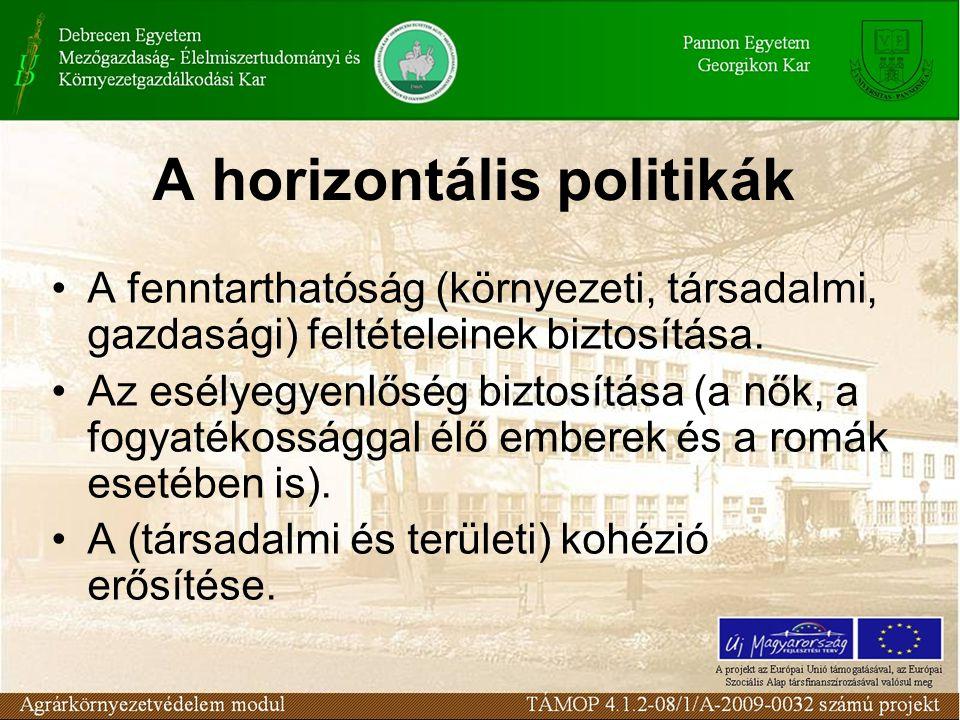 A horizontális politikák A fenntarthatóság (környezeti, társadalmi, gazdasági) feltételeinek biztosítása. Az esélyegyenlőség biztosítása (a nők, a fog