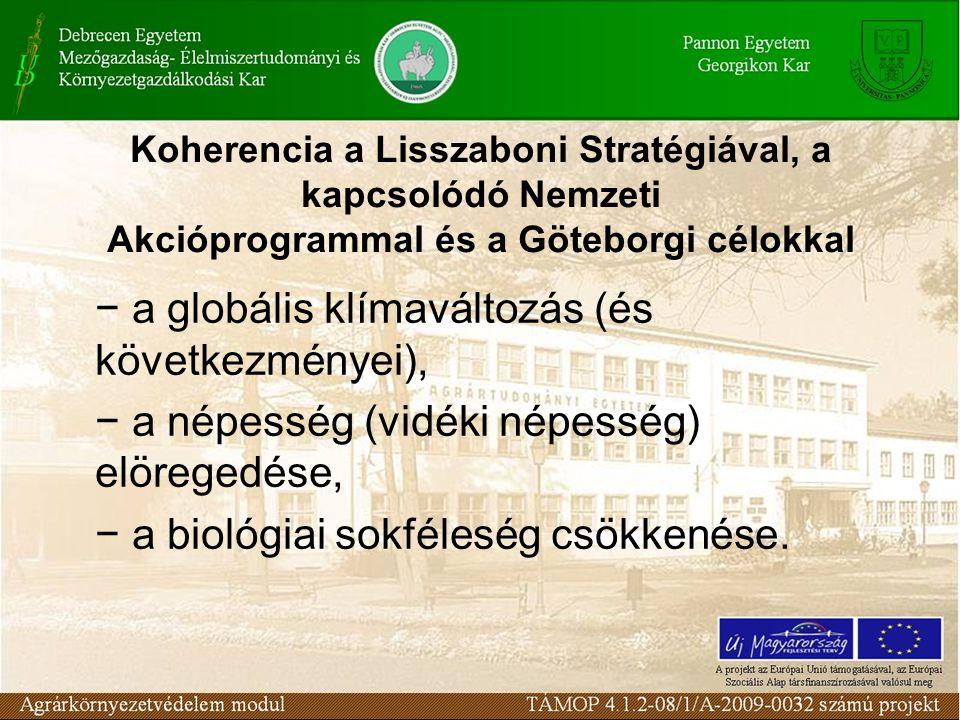 Koherencia a Lisszaboni Stratégiával, a kapcsolódó Nemzeti Akcióprogrammal és a Göteborgi célokkal − a globális klímaváltozás (és következményei), − a népesség (vidéki népesség) elöregedése, − a biológiai sokféleség csökkenése.