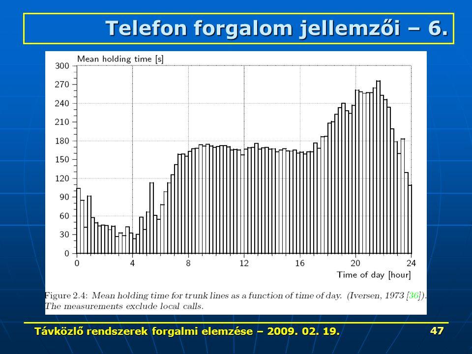 Távközlő rendszerek forgalmi elemzése – 2009. 02. 19. 47 Telefon forgalom jellemzői – 6.