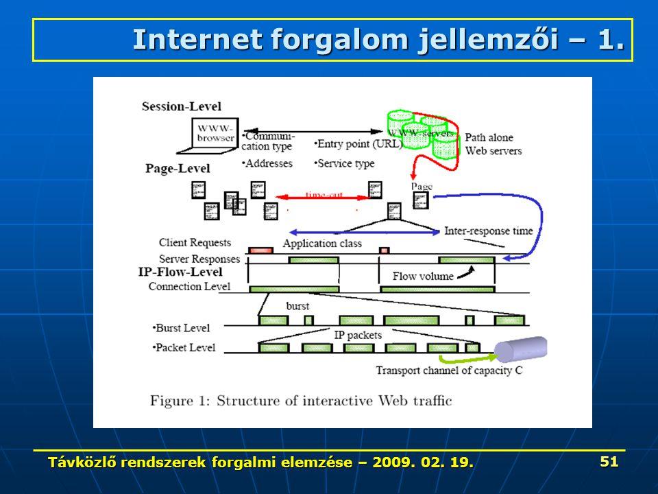 Távközlő rendszerek forgalmi elemzése – 2009. 02. 19. 51 Internet forgalom jellemzői – 1.