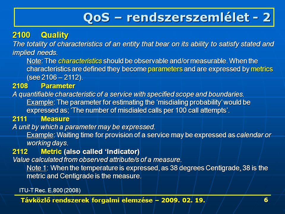 Távközlő rendszerek forgalmi elemzése – 2009.02. 19.