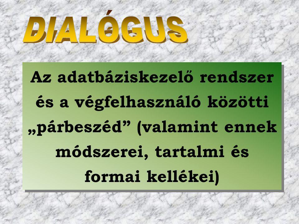 """Az adatbáziskezelő rendszer és a végfelhasználó közötti """"párbeszéd"""" (valamint ennek módszerei, tartalmi és formai kellékei)"""