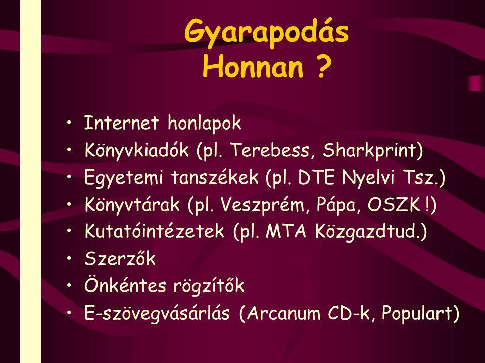 Gyarapodás Honnan . Internet honlapok Könyvkiadók (pl.