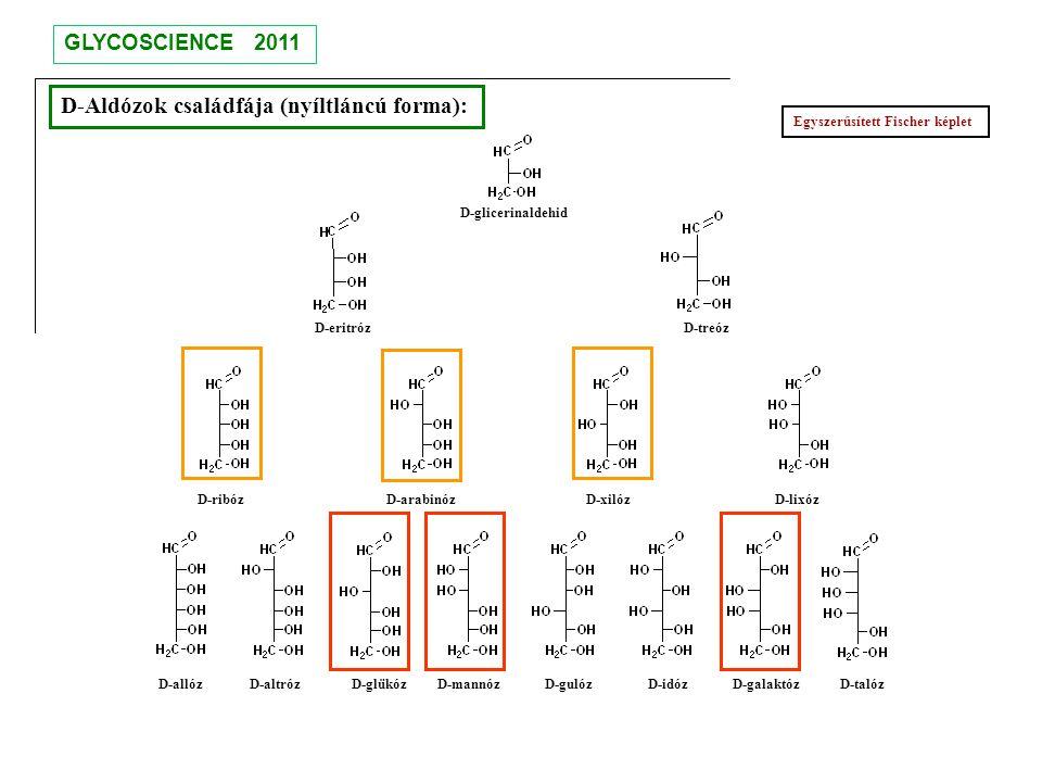 D-Aldózok családfája (nyíltláncú forma): D-glicerinaldehid D-eritróz D-treóz D-ribóz D-arabinóz D-xilóz D-lixóz D-allóz D-altróz D-glükóz D-mannóz D-g