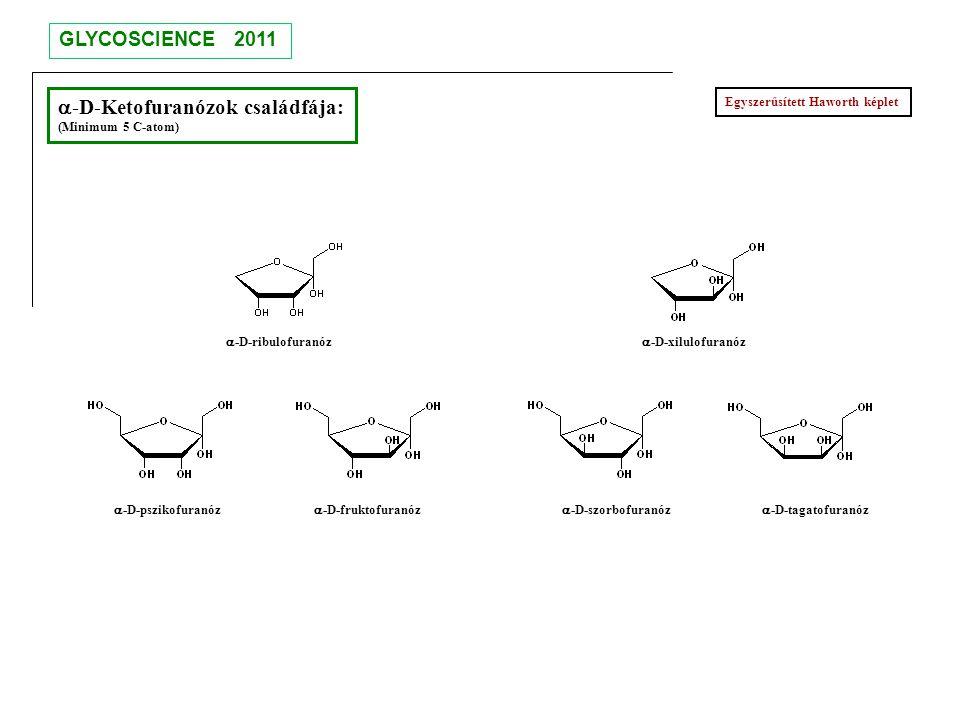  -D-Ketofuranózok családfája: (Minimum 5 C-atom)  -D-ribulofuranóz  -D-xilulofuranóz  -D-pszikofuranóz  -D-fruktofuranóz  -D-szorbofuranóz  -D-