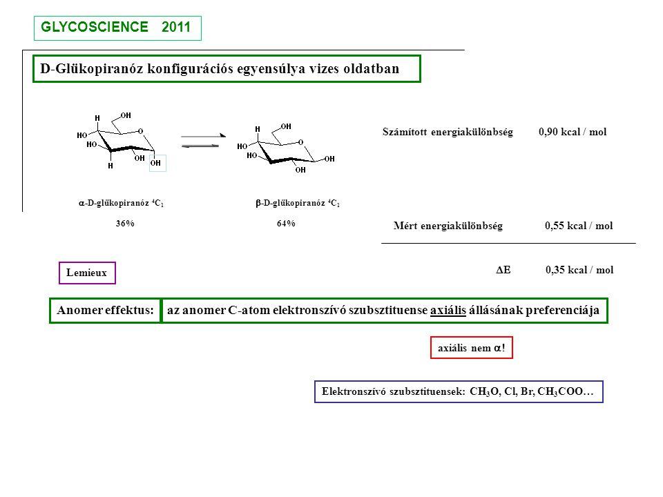 D-Glükopiranóz konfigurációs egyensúlya vizes oldatban  -D-glükopiranóz 4 C 1  -D-glükopiranóz 4 C 1 36% 64% Számított energiakülönbség 0,90 kcal /