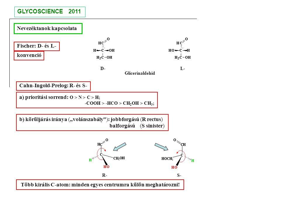 Nevezéktanok kapcsolata D- L- Glicerinaldehid Fischer: D- és L- Cahn-Ingold-Prelog: R- és S- a) prioritási sorrend: O > N > C > H; -COOH > -HCO > CH 2