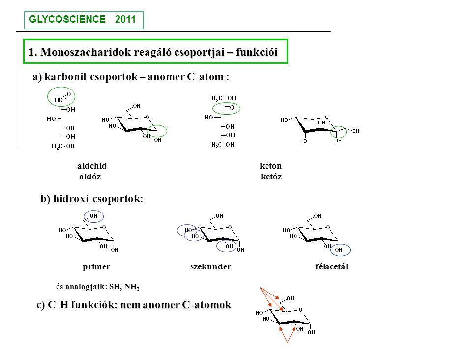 aldehid keton aldóz ketóz primer szekunder félacetál és analógjaik: SH, NH 2 ók: nem anomer C-atomok c) C-H funkciók: nem anomer C-atomok 1. Monoszach