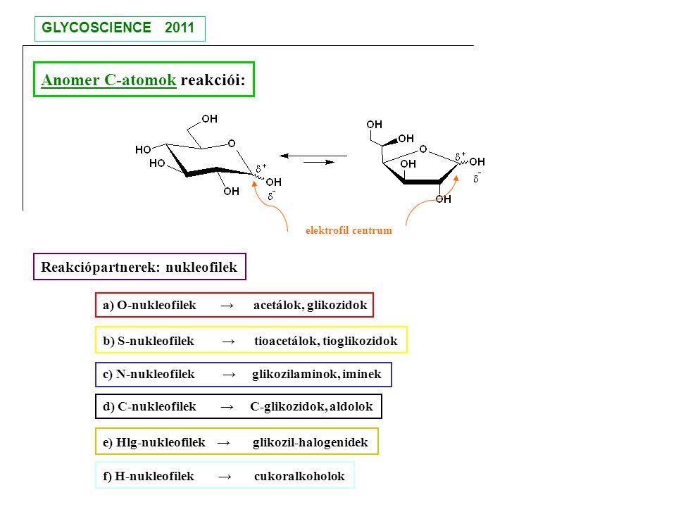 Anomer C-atomok reakciói: elektrofil centrum Reakciópartnerek: nukleofilek a) O-nukleofilek → acetálok, glikozidok b) S-nukleofilek → tioacetálok, tio