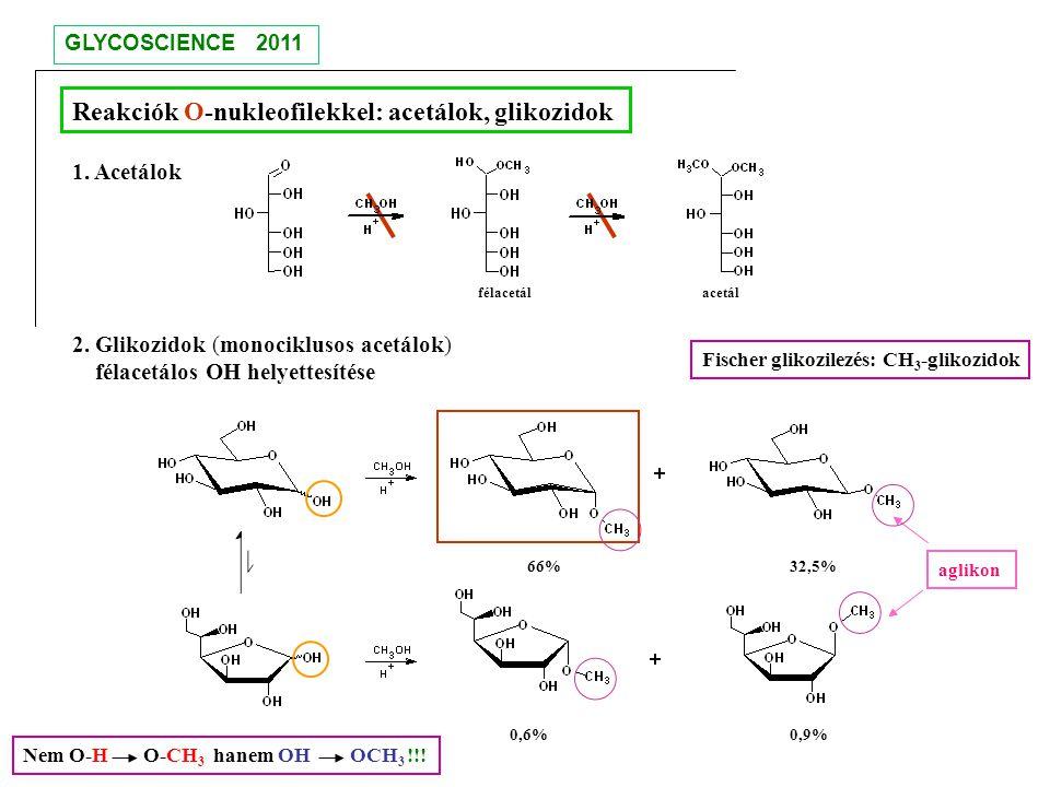 Reakciók O-nukleofilekkel: acetálok, glikozidok 1. Acetálok 2. Glikozidok (monociklusos acetálok) félacetálos OH helyettesítése Fischer glikozilezés: