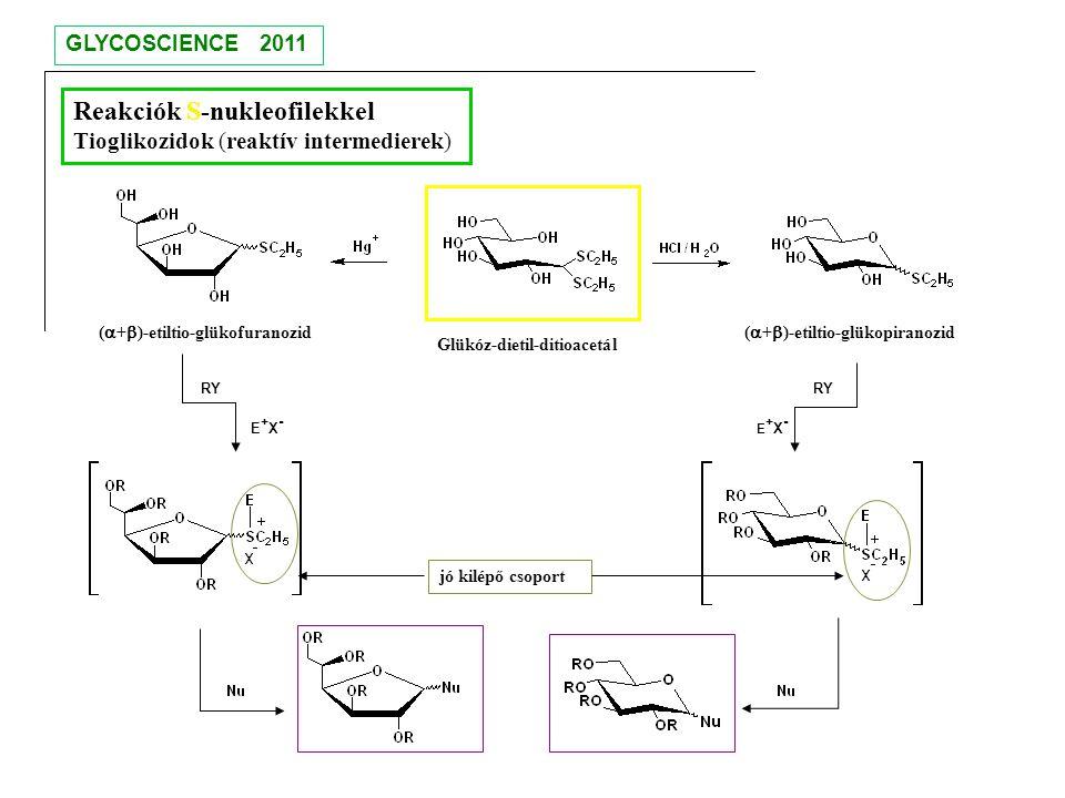 Glükóz-dietil-ditioacetál Reakciók S-nukleofilekkel Tioglikozidok (reaktív intermedierek) (  +  )-etiltio-glükopiranozid E+X-E+X- E+X-E+X- RY (  +