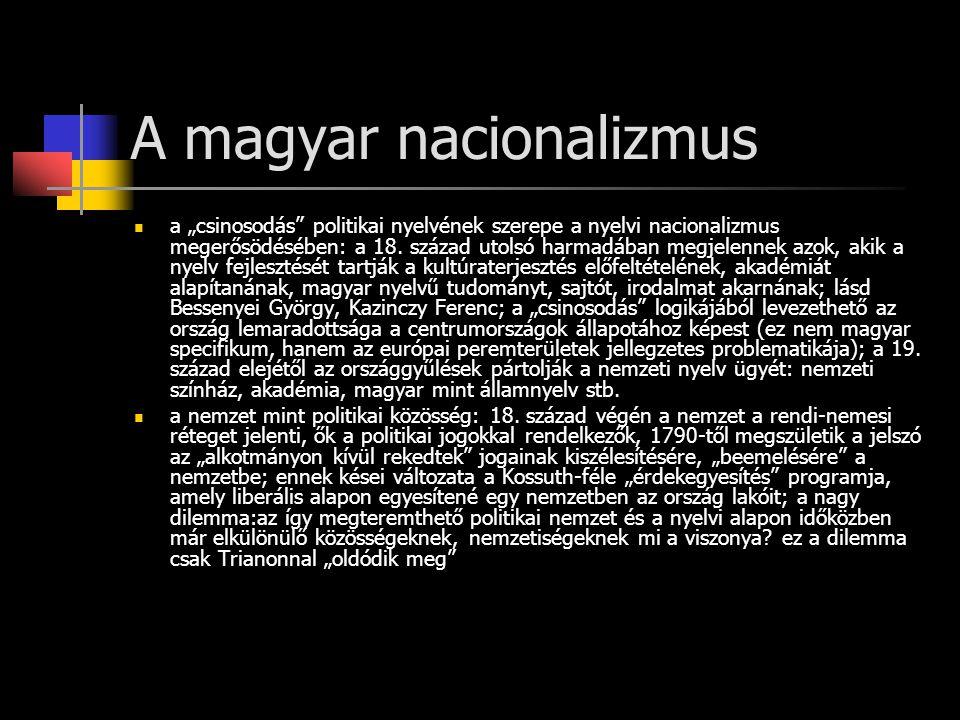 """A magyar nacionalizmus a """"csinosodás politikai nyelvének szerepe a nyelvi nacionalizmus megerősödésében: a 18."""